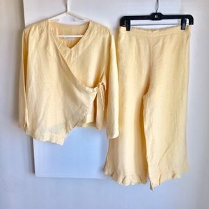 Bryn Walker Yellow Side Tie Jacket Crop Pants Sz S